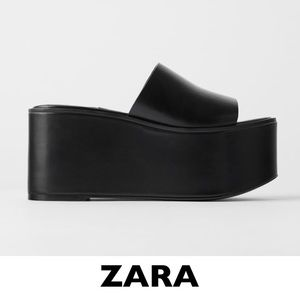 ZARA Black 90s Platform Wedges EUR 39 US 8